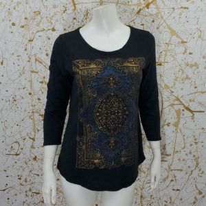 Lucky Brand 3/4 sleeve tapestry print tee size sma